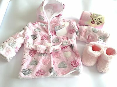 Baby Bath Time Robe, Towel and Fleecy Slippers 6-12 Months