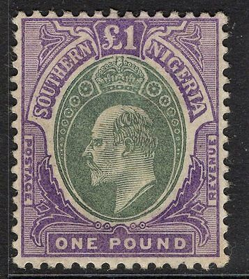 Southern Nigeria Sg20 1903 £1 Green & Violet Mtd Mint Toned Gum