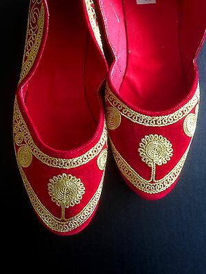 Shoes Red Gold Ethnic Khusa Bohemian Belly Dance Hippie UK Size Small 5