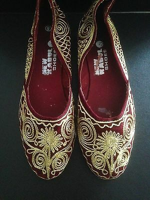 Shoes Burgrundy Gold Ethnic Khusa Bohemian Belly Dance Hippie UK Size Small 5