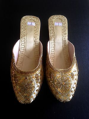 Shoes Gold Sequins Ethnic Khusa Bohemian Belly Dance Hippie UK Size 4