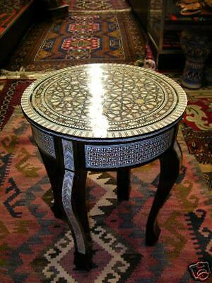 Egyptian Moroccan Inlaid Mosaic Mother Of Pearl Wood Table
