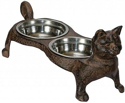 Cast Iron 2 Bowl Cat Feeder