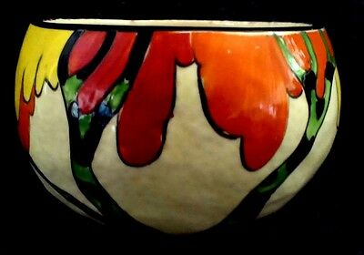 "Clarice Cliff  ""Honolulu"" Orange Shape preserve/marmalade  Pot Base"