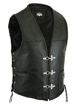 Uk Stock Mens Real Leather Biker Waistcoat/vest Fish Hook Buckle - Sides Laces