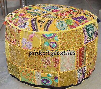 Indian Handmade Round Pouf Cover Vintage Cotton Ottoman Patchwork Footstool