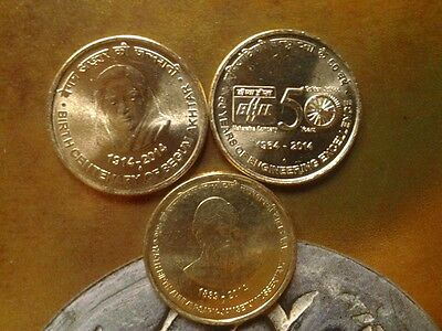 India 5 Rupees 2014 3 different commemortive coins: Begum Akhtar, BHEL, J N Tata