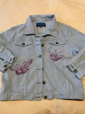 Monsoon Girls Cord Jacket Age 6/8 With Embroidered Butterflies. Blue/Purple
