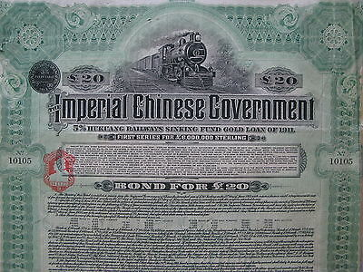 Chinese £20 Hukuang Railways Sinking Fund Gold Loan of 1911 bond - green