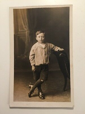 Vintage Postcard - RP Anonymous People - Boy #10 Rugeley