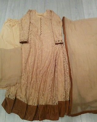 Peach Indian Wedding/partywear Maxi Frock Dress Suit In Lace Fully Lined.