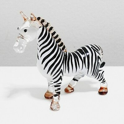 Zebra Animal Figurine Hand Paint Blown Glass Home Decorate Collectible Gift 1
