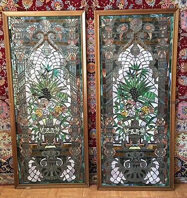 Gorgeous Pair Of Stainless Glass Color Windows With Unique Workmanship