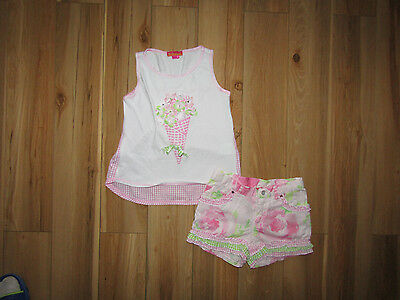 Kate Mack, ice cream flower top and shorts for girl,  set 5 years.