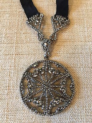 AMAZING ANTIQUE Georgian Faceted RIVETED STEEL CUT Ribbon Necklace Rare French