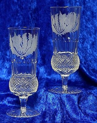 2x EDINBURGH CRYSTAL THISTLE CHAMPAGNE FLUTE / GLASS  FIRST QUALITY AND SIGNED