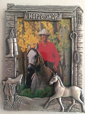 Horse Themed Pewter Rectangular Wallet Sized Picture Frame Horse Shop