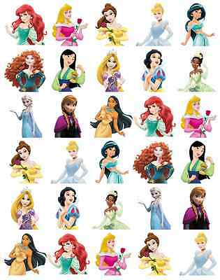 30 x Disney Princess Half Body Stand Up Edible Cupcake Toppers Fairy Cake Topper