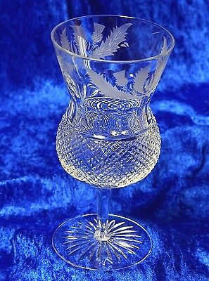 One Edinburgh Crystal Thistle Large Water / Wine Goblet First Quality & Signed