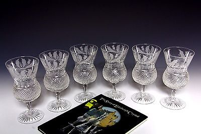 6x EDINBURGH CRYSTAL THISTLE LARGE WATER / WINE GOBLET  1ST SIGNED & PRISTINE