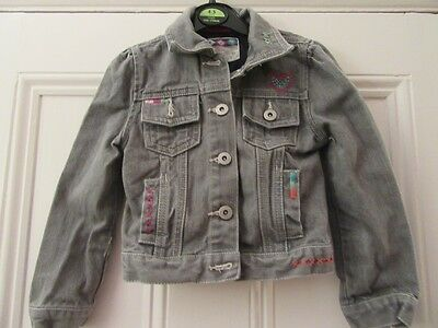 5-6 yrs: Lovely grey denim jacket - Embroidered bird/flowers - Butterfly Girl