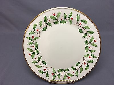 """Lenox Christmas Holiday 10&3/4"""" Dinner Plates Ivory Gold Holly Berries"""