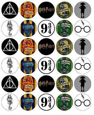 30 x Harry Potter Symbols Edible Cupcake Toppers Wafer Paper Fairy Cake Topper