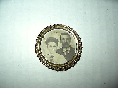 Vintage Antique Victorian Goldtone GF Round Old Photo Mourning Brooch Pin