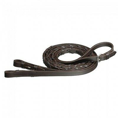 """Silver Fox Havana Brown Extra Long 60"""" Laced English Reins New Horse Tack"""