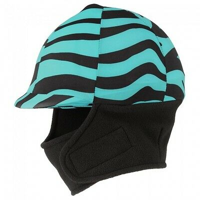 Tough 1 Lycra Helmet Cover with Fleece Neck and Ear Warmers Turquoise Zebra