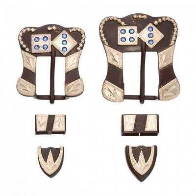 Tough-1 Antique Brown Buckle, Tip, and Keeper Set w/Blue Rhinestones Dice Poker