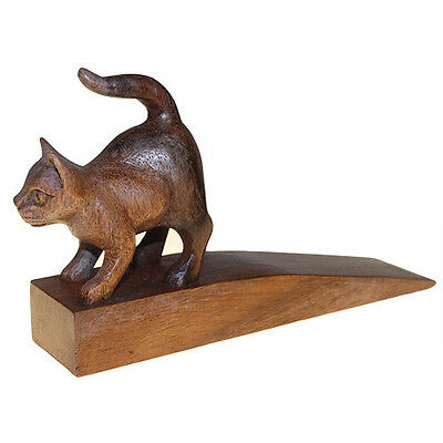 Handcarved Wooden Door-Stop - Cat