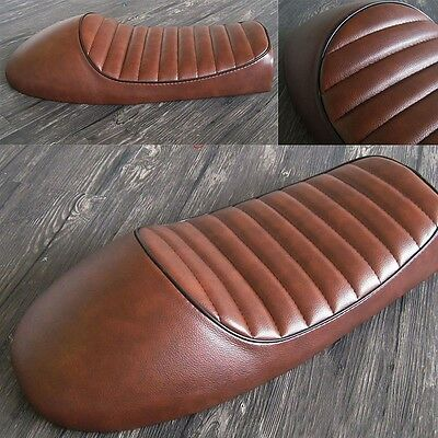 Selle Moto Cafe Racer 1 Place Vintage Couleur Brun Tabac Bike Seat Cover Brown