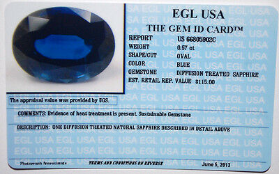 Egl Usa Certified Diffusion Treated Sapphire Blue Oval Shape 0.57 Ct Value $115