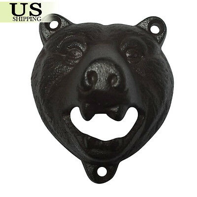 Cast Iron Wall Mount Grizzly Bear Beer Soda Bottle Opener Pub Lodge Cabin Décor