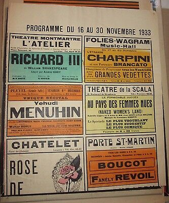 1933 - HUGE - Vintage French Theatre Poster / Program - French Tourism