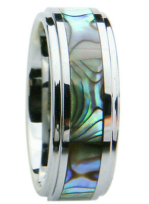 Men's Tungsten Carbide Wedding Ring Band 8mm Green Abalone Shell Inlay size 6-17