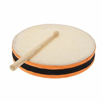 """8"""" Wood Hand Drum Dual Head Percussion Musical Educational Toy Instrument F6"""