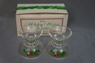 NIB Vtg 1981 Avon Holiday Hostess Collection CANDLESTICKS Christmas Holly Berry