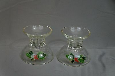 Vintage 1981 Avon Holiday Hostess Collection CANDLESTICKS Christmas Holly Berry