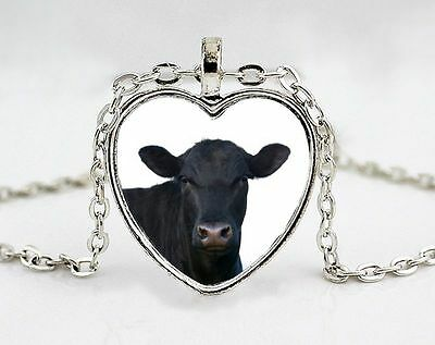 Black Angus Cow Silver Plated Heart Photo Pendant Necklace with Chain