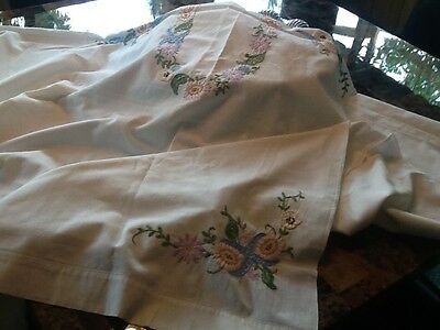 Vintage Hand Embroidered Tablecloth  56X86
