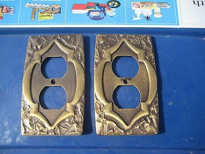 Vintage ** AMEROCK ** Metal 1-Gang Duplex Outlet Receptacle Wall Plate Set of 2