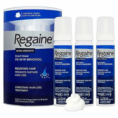 Regaine for Men Extra Strength Scalp Foam 73ml X 3 (3 Month Supply)