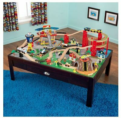 KidKraft Airport Express Train and Plane Set  on Sturdy Stable Wood Table Base