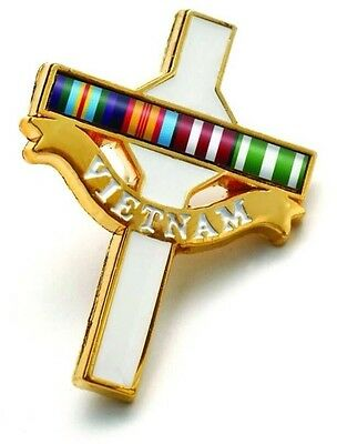 Vietnam Long Tan Cross Enamel Lapel Badge *With Defence Ribbon *