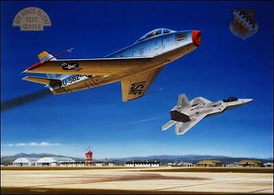 'From Sabre to Raptor' [F-86 F-22] Artist Proof Signed Mike Machat USAF Rtd.