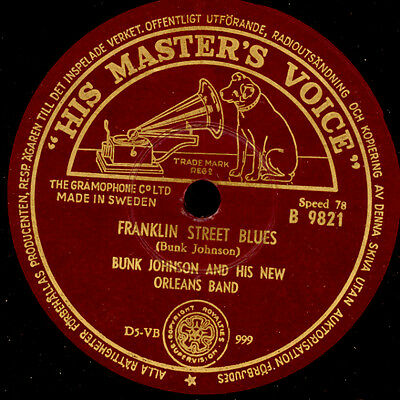 BUNK JOHNSON NEW ORLEANS BAND  Franklin Street Blues / Snag it    78rpm    X2305