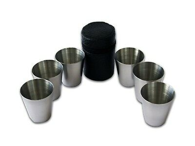 6pc Stainless Steel 30ml Shot Glass Set with PU Leather Case **Brand New**
