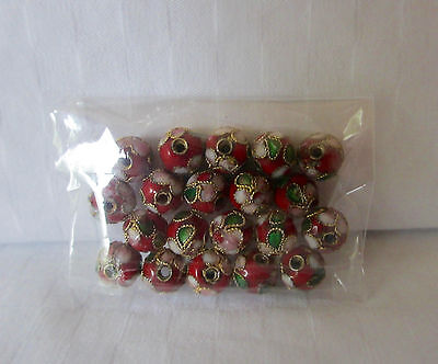 20 red cloisonné beads, round 8mm with white, green gold & red trim